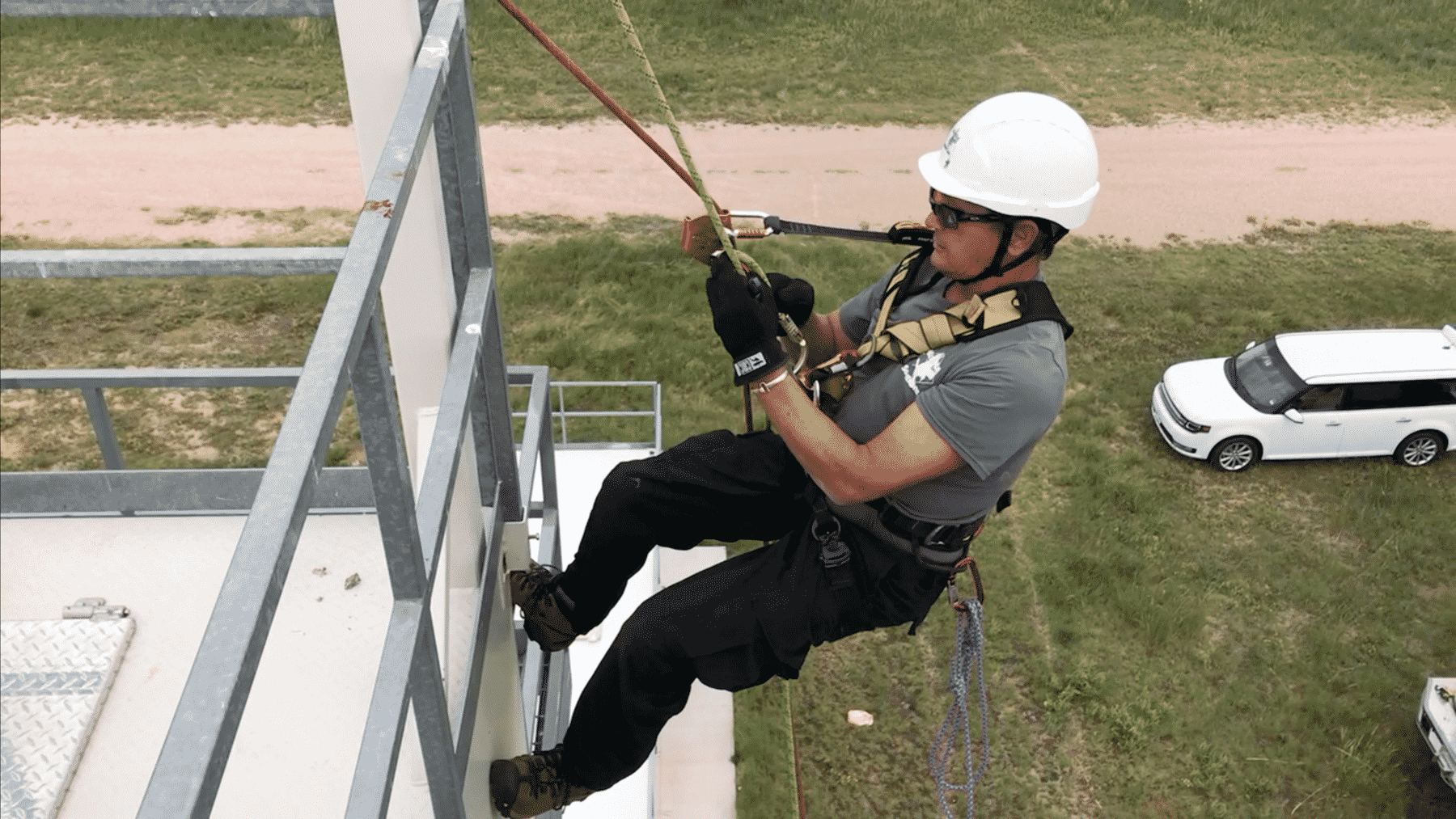 Steve Blauser, Confined Space Operations Manager, during Confined Space Rescue Training with the Air Force.